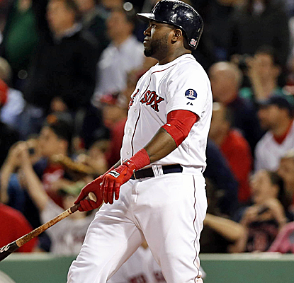 Big Papi watches his walk-off three-run homer as the Red Sox knock off the Rangers in Fenway.  (USATSI)