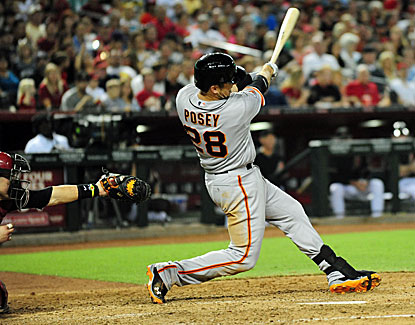 Buster Posey slugs a two-run homer to cap the Giants' six-run fourth inning in a 10-5 win. (USATSI)