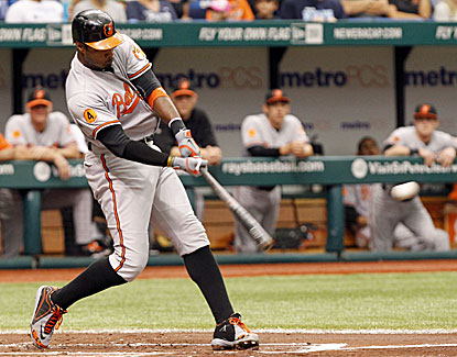Adam Jones clubs an RBI double in the first inning as part of his 3-for-5 performance against Tampa Bay. (USATSI)