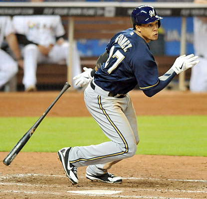 Carlos Gomez finishes with three of the Brewers' 16 hits in the game, which ties a team season high. (USATSI)