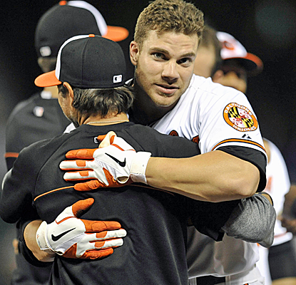 Chris Davis knocks home the winning run with a 13-inning single in the longest game of Baltimore's season.  (USATSI)