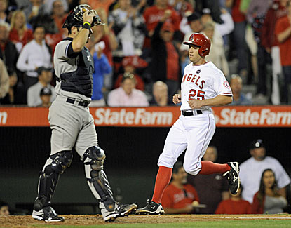 Peter Bourjos comes around to score an insurance run in the seventh inning of the Angels' win over the Yankees. (USATSI)