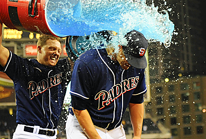 Eric Stults gets the Gatorade shower after throwing a two-hitter and delivering a two-run single to boot.  (USATSI)