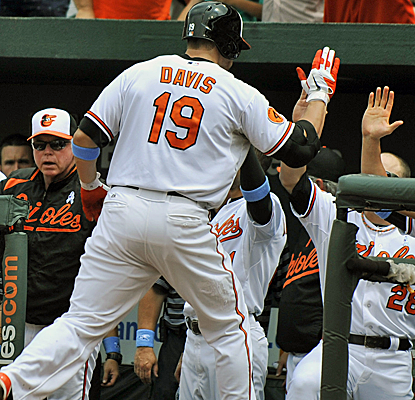 Chris Davis connects for his major league-leading 23rd home run as the Orioles top Boston.  (USATSI)