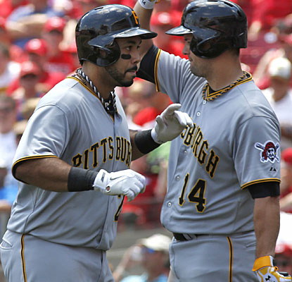 Pedro Alvarez falls one short of his career high while driving in all five of the Pirates' runs.  (USATSI)