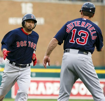 Shane Victorino matches a career high with 5 RBI on four hits, including this home run in the top of the first inning.  (USATSI)