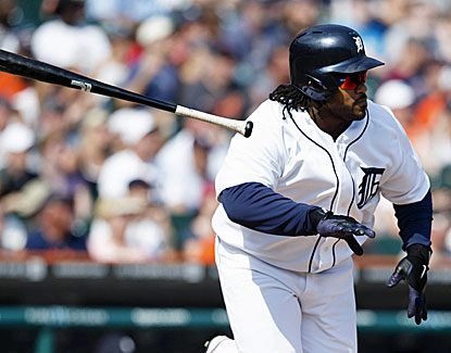 Prince Fielder tosses the bat after hitting a two-run single in the Tigers' decisive eighth inning rally. (USATSI)