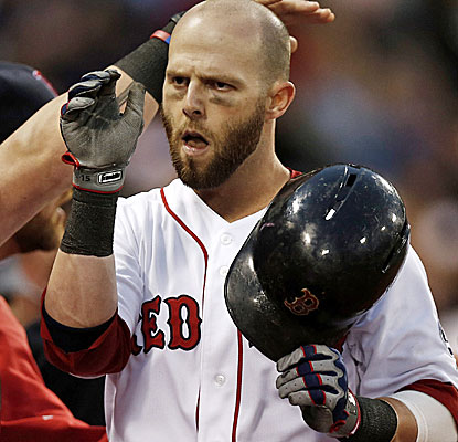 Dustin Pedroia's home run helps propel Boston to a 7-run second inning against the Blue Jays. (USATSI)