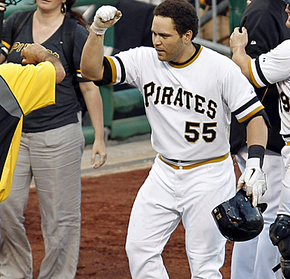 Russell Martin is all smiles after driving home the winning run with a pinch-hit single in the 14th inning.  (USATSI)