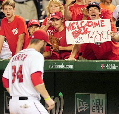 Fans are ecstatic to see the return of Bryce Harper, who rewards them with a home run in his first at-bat. (USATSI)