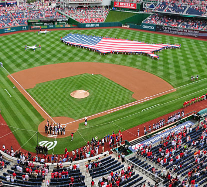 America's Team? The Nationals get the nation's birthday party started with a red, white and blue celebration.  (USATSI)
