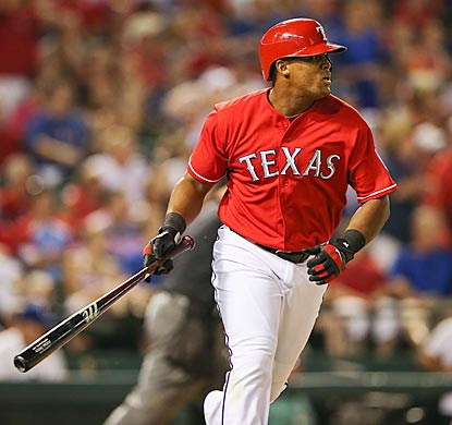 In the seventh inning, Adrian Beltre watches his second home run of the game leave the park, which sparks Texas' winning rally. (USATSI)