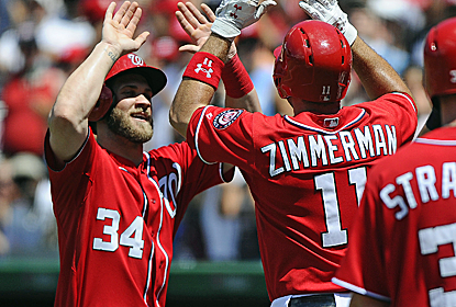 Bryce Harper collects three hits and Ryan Zimmerman hits a grand slam in support of Stephen Strasburg.  (USATSI)