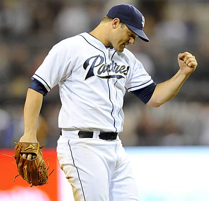 Eric Stults pumps his first after finishing off a complete game and San Diego's first victory since June 28.  (USATSI)