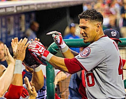 Wilson Ramos (right) celebrates after hitting the second of back-to-back homers against the Phils in the fifth inning. (USATSI)