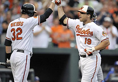 Chris Davis' solo shot in the second inning brings him within five home runs of Barry Bonds' pre-All-Star-Game record.  (USATSI)