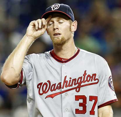 Stephen Strasburg has a bad day in Miami, allowing a career-high seven earned runs and walking four in just two innings.  (USATSI)
