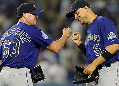 The Rockies are all smiles after blanking the Dodgers to end LA's five-game win streak.  (USATSI)