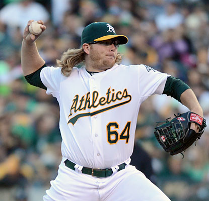 A.J. Griffin (8 IP, 0 runs) and the A's reach 55 wins before the break for the first time since 1975. (USATSI)