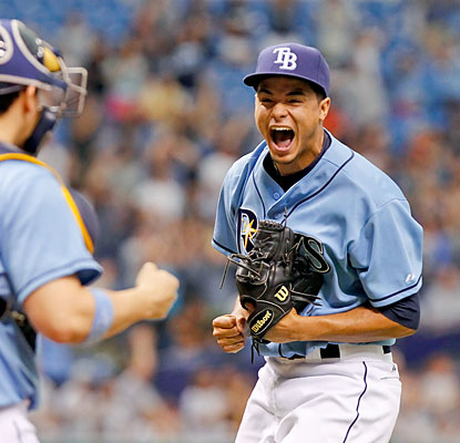 Rookie Chris Archer celebrates his first career complete game, a five-hit masterpiece against the Astros. (USATSI)