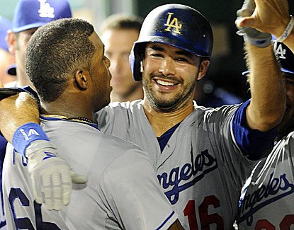 Andre Ethier and Yasiel Puig celebrate Ethier's homer, which puts the Dodgers up for good against the Nationals. (USATSI)