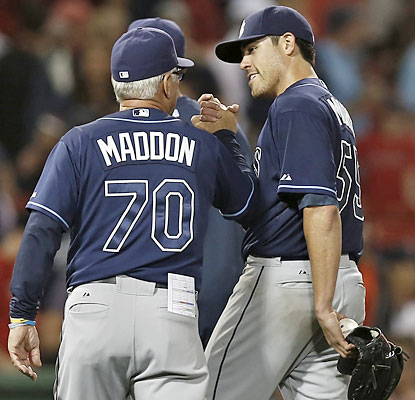 Matt Moore limits the Red Sox to two hits at Fenway, and the Rays move within a half-game of first place in the AL East.  (USATSI)