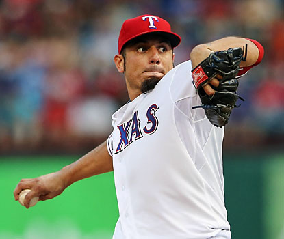 Matt Garza is sharp in his Rangers debut, yielding just five hits and an unearned run through 7 1/3 innings. (USATSI)