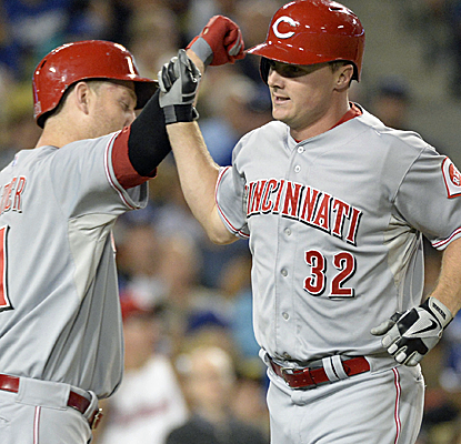 Jay Bruce scores an insurance run in the sixth inning as the Reds go on to defeat the Dodgers.  (USATSI)