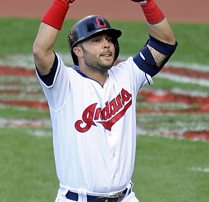 Nick Swisher celebrates his solo home run in the first, but the Indians would need many more runs to beat Texas. (USATSI)