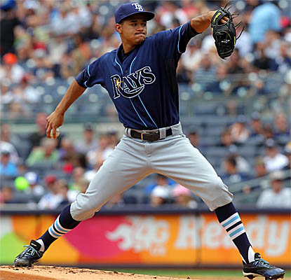 Rookie Chris Archer throws a two-hit complete game to help the first-place Rays blank the Yankees. (USATSI)