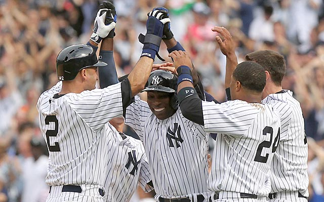 Derek Jeter and Alfonso Soriano (center) turn back the clock to 2003 with some big hits in a Yankees victory.