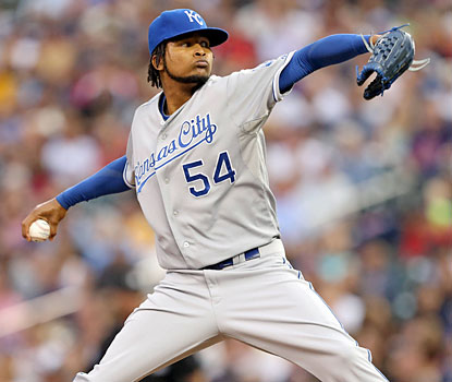 The Royals' Ervin Santana yields two runs and four hits while striking out eight in seven innings against the Twins. (USATSI)