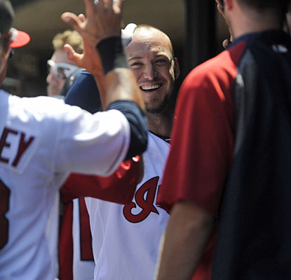 Ryan Raburn is a popular guy in the Indians dugout after one of his two home runs in the matinee.  (USATSI)