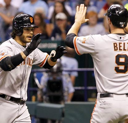 Brandon Crawford and Brandon Belt both hit home runs to spark the Giants in their first game vs. Tampa since 2004.  (USATSI)