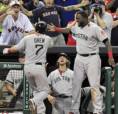 Stephen Drew puts the Red Sox ahead in the ninth with a three-run blast to help Boston win their seventh game in nine tries. (USATSI)
