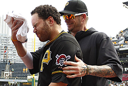 Russell Martin takes a shaving cream pie to the face after delivering his fourth game-winning hit at PNC Park this season. (USATSI)