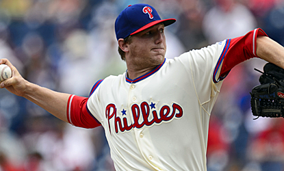 Phillies starter Ethan Martin scatters four hits through five innings to pick up his first major-league win.  (USATSI)