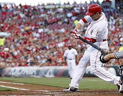 Joey Votto drives in a pair of runs for the Reds with a single and a triple against the Padres. (USATSI)