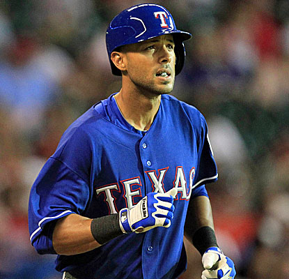 Alex Rios makes a difference in his first game with Texas, tying the game with an RBI triple in the eighth inning. (USATSI)