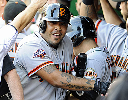 Pinch-hitter Hector Sanchez hits a three-run homer with two outs in the ninth inning to send the Giants past the Nats. (USATSI)