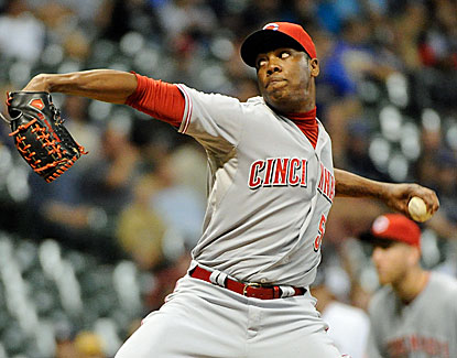 Cincinnati closer Aroldis Chapman works the ninth against Milwaukee  for his 30th save in 34 chances. (USATSI)