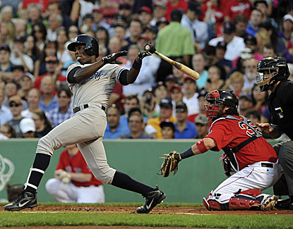 Alfonso Soriano drives in four runs, including this RBI single in the first inning of the Yankees' 10-3 win in Boston. (USATSI)