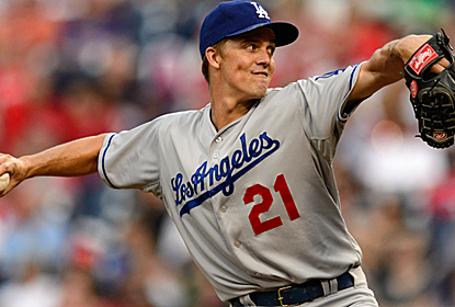 Zach Greinke takes a three-hitter into the eighth inning as the Dodgers blank the slumping Phillies.  (USATSI)