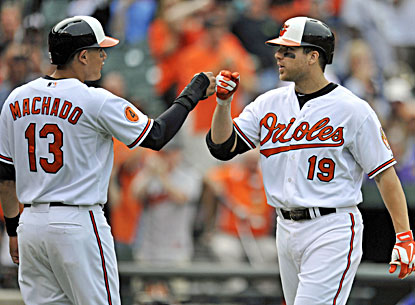Chris Davis (right) is congratulated by Manny Machado after hitting a two-run home run during the eighth inning.  (USATSI)