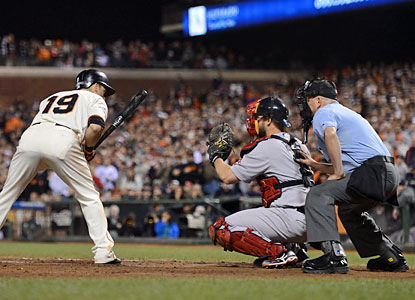 Marco Scutaro watches all the way as ball four goes by, sending the Giants to a bases-loaded walk-off win. (USATSI)