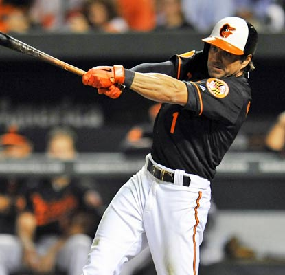 Orioles second baseman Brian Roberts hits the sixth grand slam of his career and the first since 2009.  (USATSI)