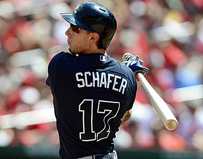 Braves outfielder Jordan Schafer has two hits with a run scored and an RBI in Atlanta's win over St. Louis. (USATSI)