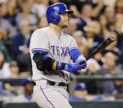 A.J. Pierzynski gives the Rangers some breathing room with a three-run home run in the seventh inning.  (USATSI)