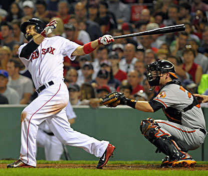 Shane Victorino blasts his second home run of the night, this one in the fifth, during a win over the O's. (USATSI)