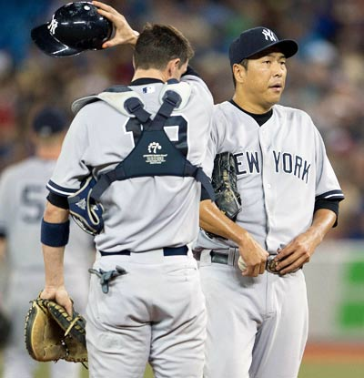Hiroki Kuroda's recent struggles continue as the Yankees starter loses for the fourth time in his last five starts.  (USATSI)
